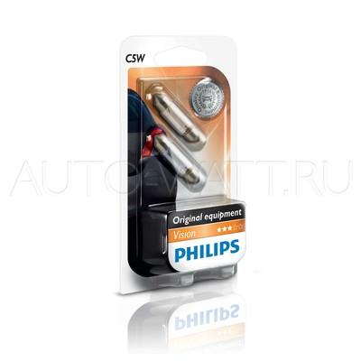 Лампа галогенная C5W 36мм  - PHILIPS Vision 12V 5W 3000K Комплект