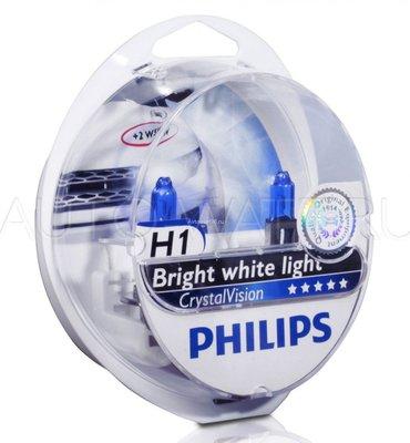 Лампа галогенная H1 - PHILIPS Crystal Vision 12V 55W 4300K Комплект