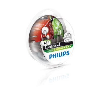 Лампа галогенная H1 - PHILIPS Long Life Eco 12V 55W 4000K Комплект