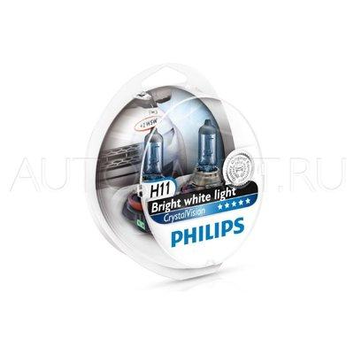 Лампа галогенная H11 - PHILIPS Crystal Vision 12V 55W 4300K Комплект
