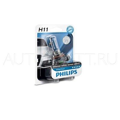 Лампа галогенная H11 - PHILIPS White Vision +60% 12V 55W 4300K