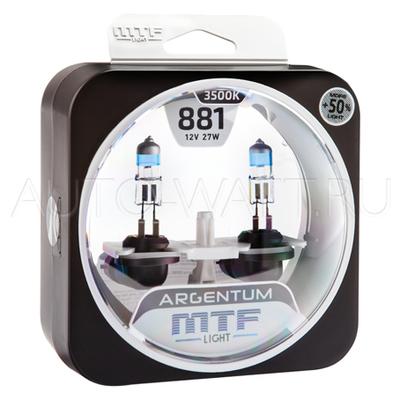 Лампа галогенная H27 881 - MTF Argentum + 50% 12V 27W 3500K