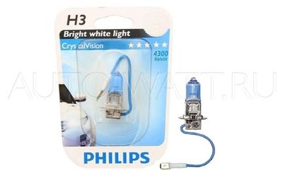 Лампа галогенная H3 - PHILIPS Crystal Vision 12V 55W 4300K