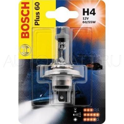 Лампа галогенная H4 - Bosch Plus 60% PlusLife 12V 55/60W