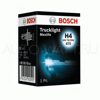 Лампа галогенная H4 - Bosch Trucklight Maxlife 24V 75/70W