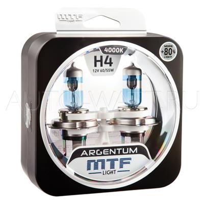 Лампа галогенная H4 - MTF Argentum + 80% 12V 60/55W 4000K
