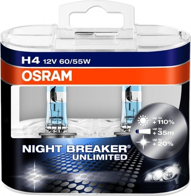 Лампа галогенная H4 - OSRAM Night Breaker Unlimited 12V 55/60W