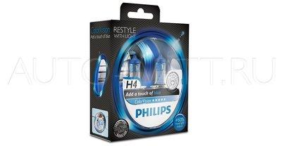 Лампа галогенная H4 - PHILIPS Color Vision +60% Blue 12V 60/55W Синяя Комплект