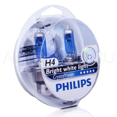Лампа галогенная H4 - PHILIPS Crystal Vision 12V 60/55W 4300K Комплект