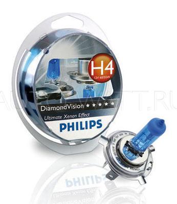 Лампа галогенная H4 - PHILIPS Diamond Vision 12V 60/55W 5000K Комплект