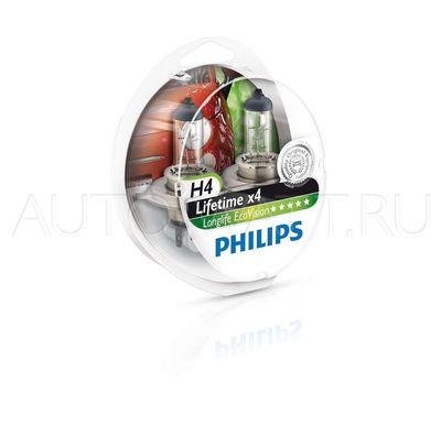 Лампа галогенная H4 - PHILIPS LongLife Eco 12V 60/55W 3000K Комплект