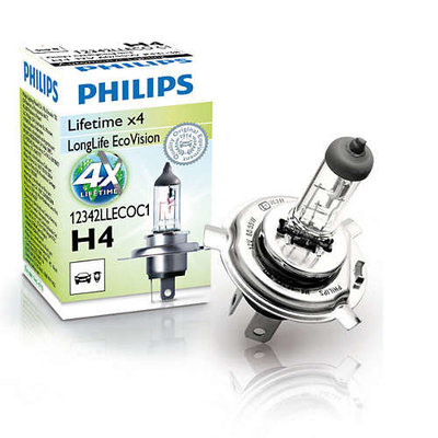 Лампа галогенная H4 - PHILIPS LongLife Eco (P43t-38) 12V 60/55W 3000K