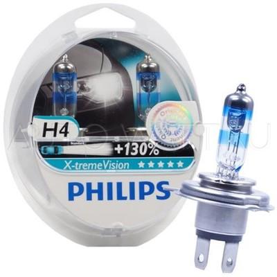 Лампа галогенная H4 - PHILIPS X-treme Vision +130% 12V 60/55W 3700K Комплект