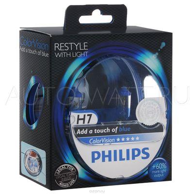 Лампа галогенная H7 - PHILIPS Color Vision +60% Blue 12V 55W Синяя Комплект