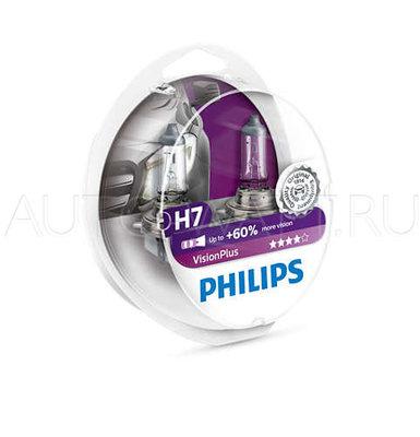 Лампа галогенная H7 - PHILIPS Vision Plus +60%  12V 55W 3000K Комплект