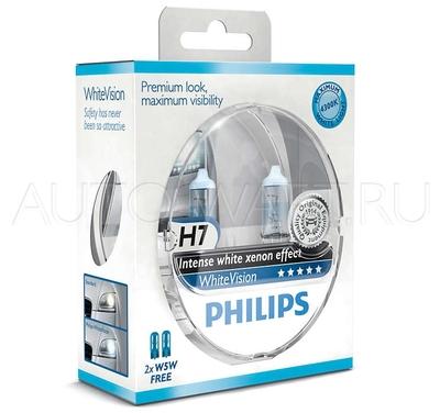 Лампа галогенная H7 - PHILIPS White Vision +60% 12V 55W 4300K Комплект