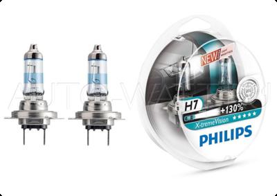 Лампа галогенная H7 - PHILIPS X-treme Vision +130% 12V 55W 3700K Комплект