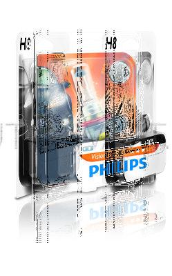 Лампа галогенная H8 - PHILIPS Vision +30% 12V 35W 3000K