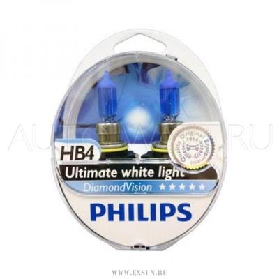 Лампа галогенная HB4 9006 - PHILIPS Diamond Vision 12V 55W 5000K Комплект