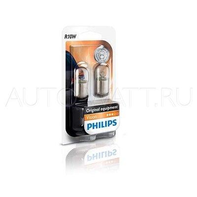 Лампа галогенная P10W (BA15s) - PHILIPS Vision 12V 10W 3000K Комплект