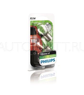 Лампа галогенная P21W 1156  - PHILIPS Long Life Eco 12V 21W 3000K Комплект