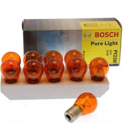 Лампа галогенная PY21W 1156 - Bosch 12V 21W Жёлтая