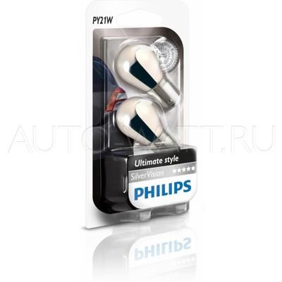 Лампа галогенная PY21W 1156  - PHILIPS Silver Vision 12V 21W Янтарные Комплект