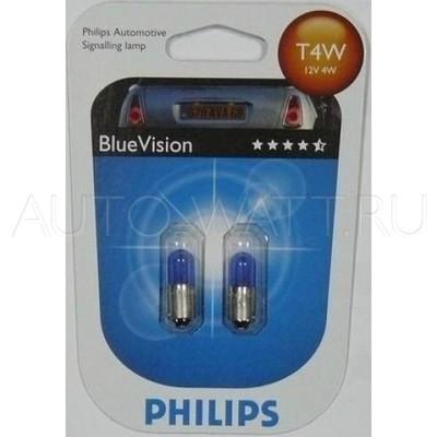 Лампа галогенная T4W (BA9s) - PHILIPS Blue Vision 12V 4W 4200K Комплект