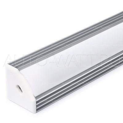 Набор алюминиевого углового профиля для светодиодной ленты 19x19mm с экраном