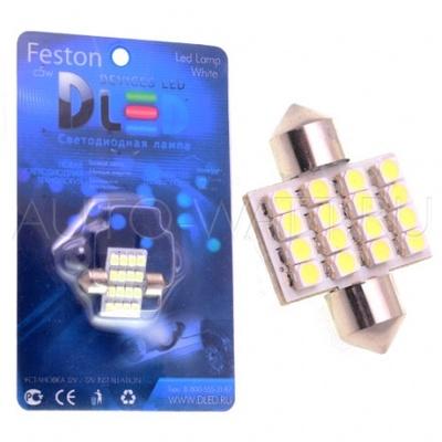 Светодиодная лампа C5W 31 мм - 16 SMD3528 1.28Вт Белая