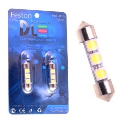 Светодиодная лампа C5W 31 мм - 3 SMD5050 0.72Вт Белая