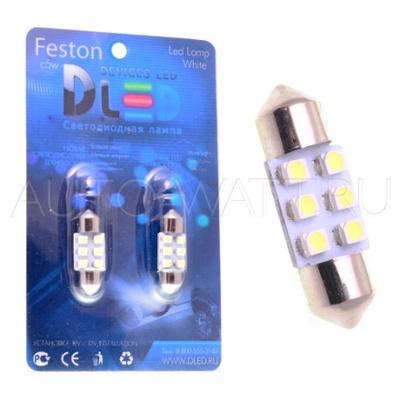 Светодиодная лампа C5W 31 мм - 6 SMD3528 0.48Вт Белая