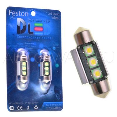 Светодиодная лампа C5W 36 мм - 3 Cree XB 6Вт Белая
