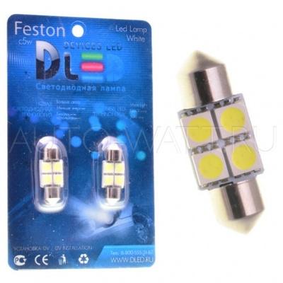 Светодиодная лампа C5W 36 мм - 4 SMD5050 0.93Вт Белая