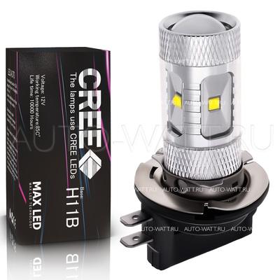 Светодиодная лампа H11B - 6 CREE Линза 30Вт