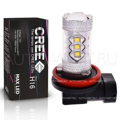 Светодиодная лампа H16 PGJ19-3 - 16 CREE Линза 80Вт