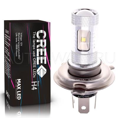 Светодиодная лампа H4 - 6 CREE Линза 30Вт