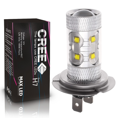 Светодиодная лампа H7 - 10 CREE Линза 50Вт