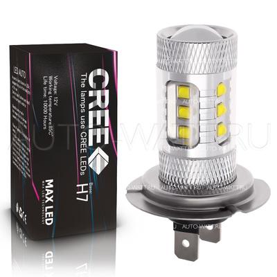 Светодиодная лампа H7 - 16 CREE Линза 80Вт