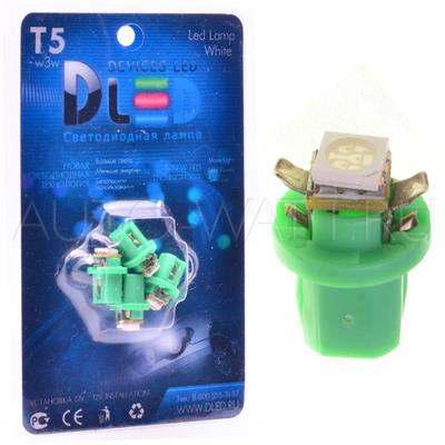 Светодиодная лампа T5 – B8.5D 1 Dip 0.2Вт Зелёная