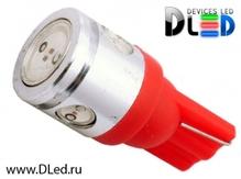 Светодиодная лампа W5W T10 – 1 HP + 3 Mini Hp 2.5Вт Красная