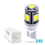 Светодиодная лампа W5W T10 – 5 SMD5050 1.2Вт Белая 24V