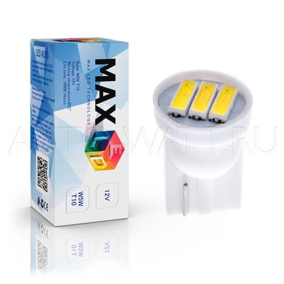 Светодиодная лампа W5W T10 – Max-7014 1Вт Белая