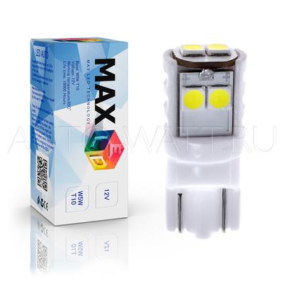 Светодиодная лампа W5W T10 – Max-Ceramic 3030 6Led 3Вт Белая