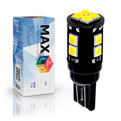 Светодиодная лампа W5W T10 – Max-Lumen 12Led 6Вт Белая