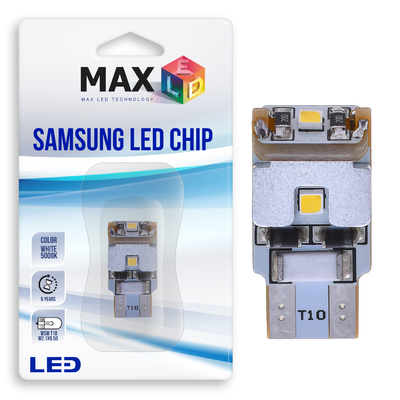 Светодиодная лампа W5W T10 – Max-Samsung Chip 3Led 3Вт Белая
