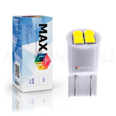 Светодиодная лампа W5W T10 – Max-Lumen 4Led 4Вт Белая