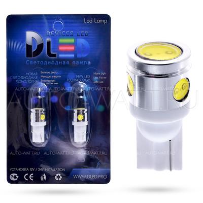 Светодиодная лампа W5W T10 – 1 HP + 3 Mini Hp 2.5Вт Белая