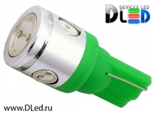 Светодиодная лампа W5W T10 – 1 HP + 3 Mini Hp 2.5Вт Зелёная