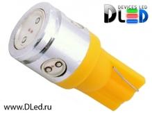 Светодиодная лампа W5W T10 – 1 HP + 3 Mini Hp 2.5Вт Жёлтая
